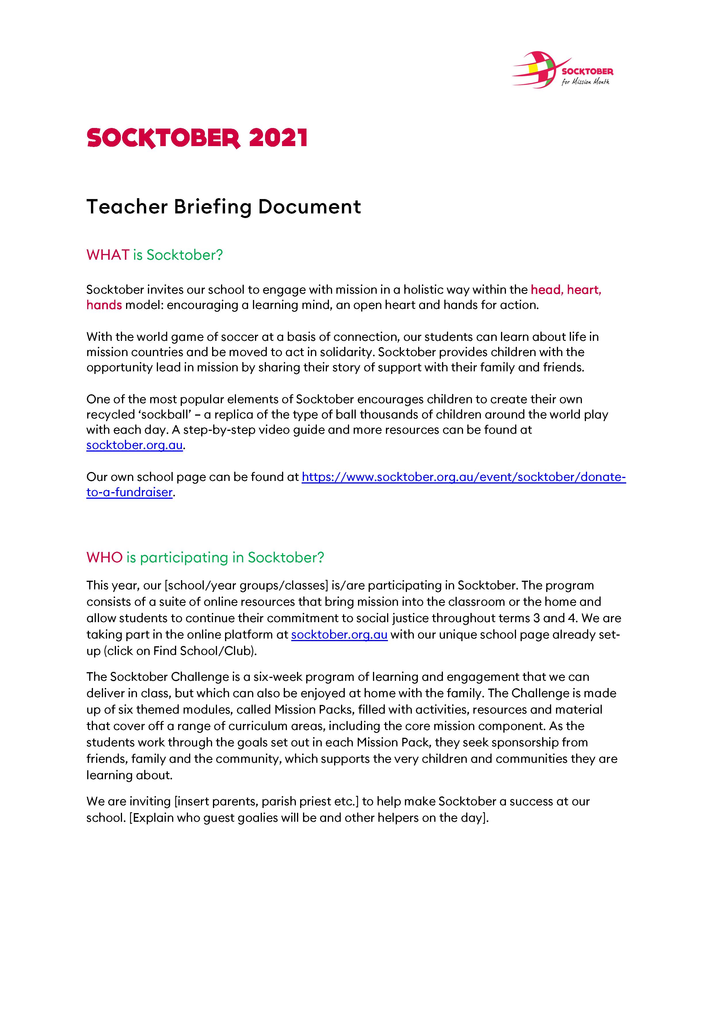 Teacher Briefing Document