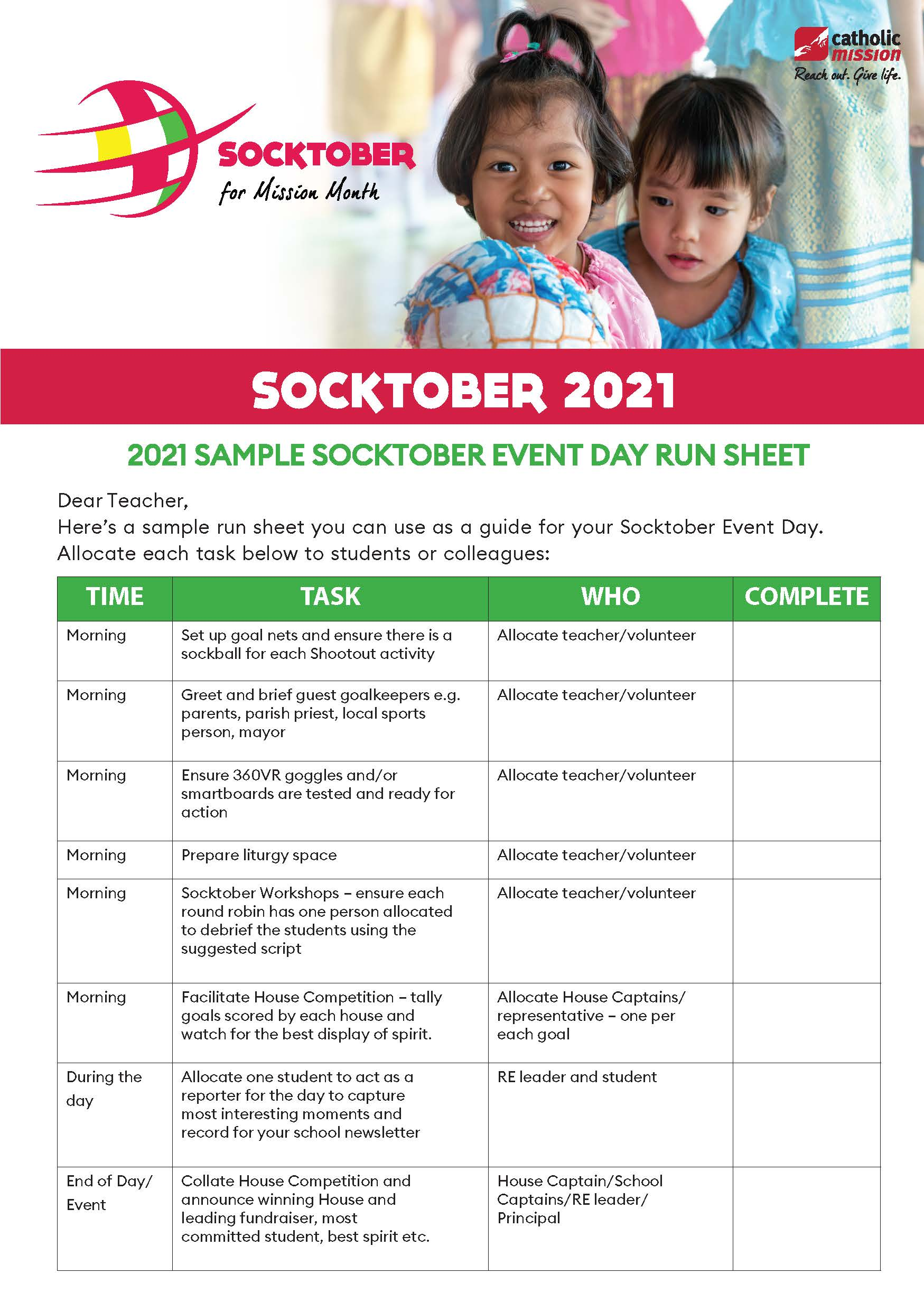 Socktober Event Day Run Sheet